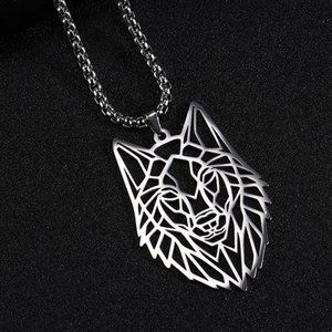 💙NEW Stainless Steel Geometric Wolf Necklace